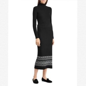 RALPH LAUREN BLACK FAIR ISLE WOOL MIDI SKIRT
